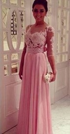 Pink Floral Applique Bodice Beaded Waist Backless Chiffon Prom Dress