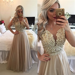 Beaded Applique Bodice Plunge Neckline Open Back Chiffon Prom Dress