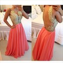 Beaded Applique Bodice Plunge Neckline Open Back Chiffon Prom Dress