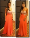Orange Strapless Sequin Sweetheart Neckline Pleated Chiffon Prom Dress