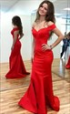 Elegant Red Off The Shoulder Open Back Mermaid Prom Gown Evening Dress
