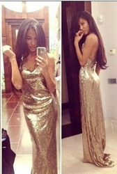 Glitter Gold Sequin Cross Over Open Back V Neck Long Prom Dress