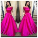 Fuchsia Off The Shoulder Floor Length A Line Ball Gown Prom Dresses