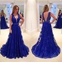 Royal Blue Sleeveless A-Line Deep V-Neck Floor-Length Lace Prom Dress