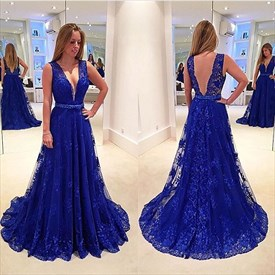 Royal Blue Sleeveless A-Line Deep V-Neck Floor-Length Lace Prom Dress