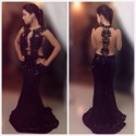 Black Sleeveless See Through Lace Applique Sequin Mermaid Prom Dress