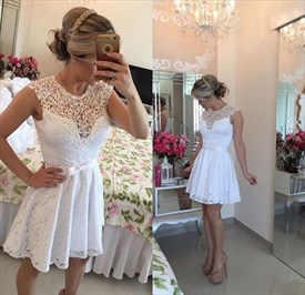 White Sleeveless Knee Length Illusion Lace Neckline Cocktail Dress