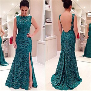 Green Sleeveless Backless Floor Length Lace Prom Dress With Side Split