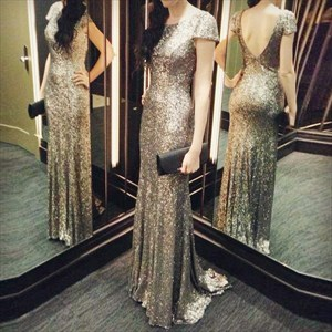 Sparkly Gold Sequin Short Sleeve Backless Floor Length Party Dress