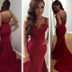 Red Spaghetti Strap Sweetheart Sheath Backless Mermaid Evening Dress
