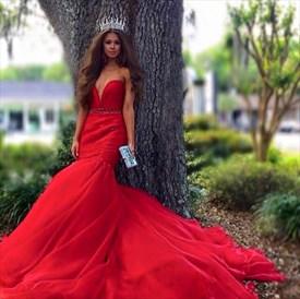 Red Strapless Deep V Neck Beaded Waist Mermaid Long Prom Dress
