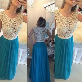 White Sleeveless Illusion Lace Beaded Bodice Chiffon Prom Dress
