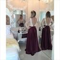 Open Back Chiffon Beaded Bodice Prom Dress With Illusion Long Sleeve