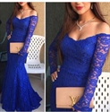 Royal Blue Off The Shoulder Sheer Long Sleeve Lace Mermaid Prom Dress