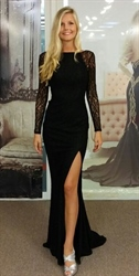 Black Lace Sheer Long Sleeve Split Side Backless Evening Prom Dress