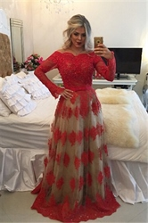 Red Off The Shoulder Long Sleeve Open Back Prom Dress With Lace Overlay
