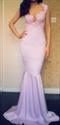 Lavender Illusion Lace Floral Applique Open Back Sheath Mermaid Dress