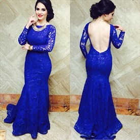 Royal Blue Bateau Neck Backless Long Sleeve Mermaid Lace Evening Dress