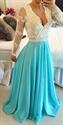 V Neck Sheer Sleeves Lace Bodice Backless Blue Chiffon Dress