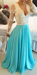 V Neck Sheer Sleeves Lace Bodice Backless Blue Chiffon Dress