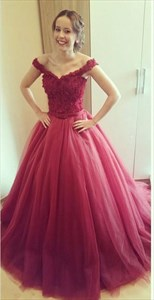 Burgundy Off-The-Shoulder Lace Bodice Tulle Puffy Long Prom Dress