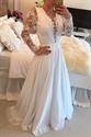 White Illusion Lace Bodice Plunge V Neck Sheer Sleeve Chiffon Dress