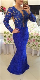 Royal Blue Beaded Bodice Full Sleeve Backless Lace Mermaid Prom Dress