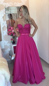 Fuchsia Strapless Open Back V Neck Pleated Dress With Sequin Bodice