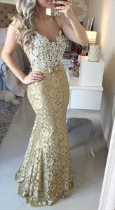Gold Lace Spaghetti Strap Backless Mermaid Lace Slim Dress With Beading