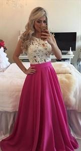 White Lace Beaded Bodice Fuchsia Chiffon Floor Length Prom Dress