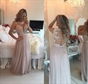 Pearl Pink Sleeveless Beaded Illusion Bodice Ball Gown With Open Back