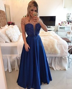 Illusion Beaded Top A Line Floor Length Prom Dress With Open Back
