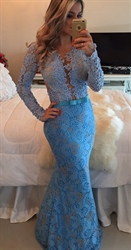 Baby Blue Deep V-Neck Open Back Lace Embellished Evening Dress