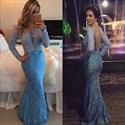 Baby Blue Deep V-Neck Open Back Lace Embellished Evening Dress