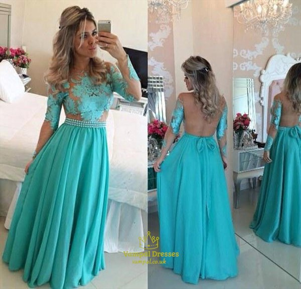 Blue Illusion Top Long Sleeve Backless Chiffon Evening Dress