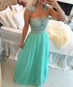 Sleeveless Beaded Bodice Floor Length Floral Embellished Prom Dress
