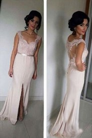 Sleeveless Illusion Back Mermaid Bridesmaid Dress With Front Split