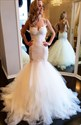 Champagne Lace Spaghetti Strap Backless Mermaid Gown With Tiered Skirt