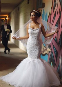 Open Back Mermaid Wedding Dresses With Sweetheart Neckline And Crystal