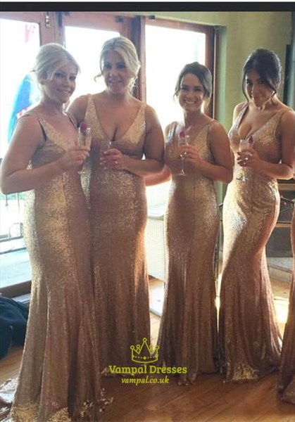 Gold Sequin Deep V Neck Sleeveless Floor Length Prom Dress