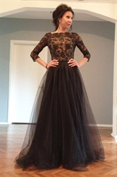 Black Lace Applique Long Sleeve Open Back Floor Length Tulle Prom Dress