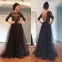 Black Lace Applique Long Sleeve Open Back Floor Length Tulle Prom Dress