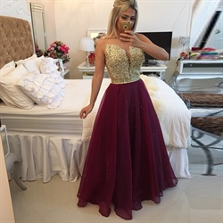 Strapless Gold Sequin Bodice Open Back Burgundy Tulle Prom Dress