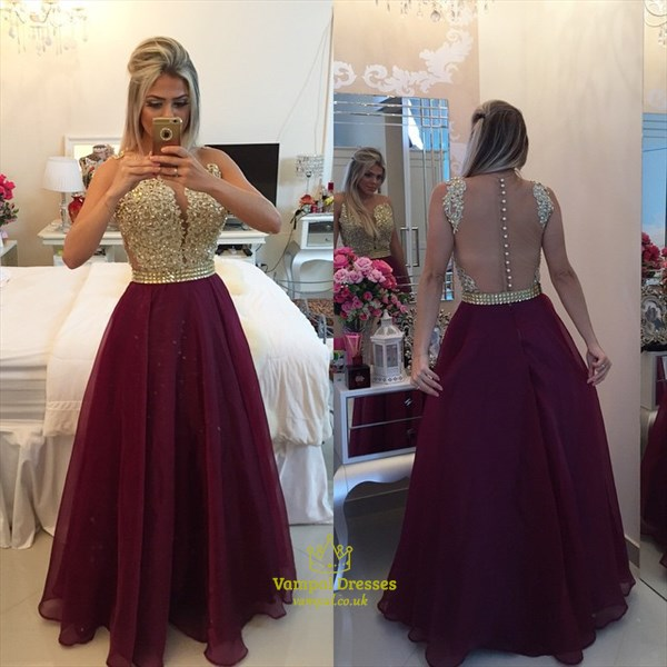 Strapless Gold Sequin Bodice Open Back Burgundy Tulle Prom Dress