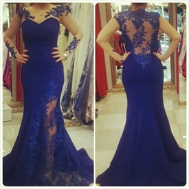 Royal Blue Sleeveless Sweetheart Illusion Lace Applique Prom Dress
