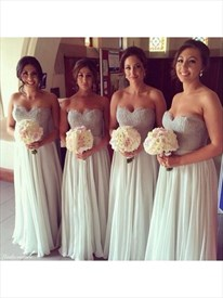 Strapless Sweetheart Lace Bodice A Line Chiffon Bridesmaid Dress
