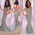 Off The Shoulder Lace Embellished Sheath Satin Fit And Flare Prom Dress