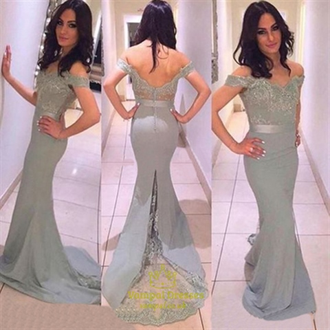 Off The Shoulder Lace Embellished Sheath Satin Fit And Flare Prom ...