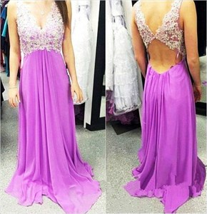 Lavender Sleeveless Lace Applique Chiffon Dress With Open Keyhole Back