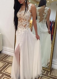 White Sleeveless Illusion Floral Applique Chiffon Prom Dress With Slit